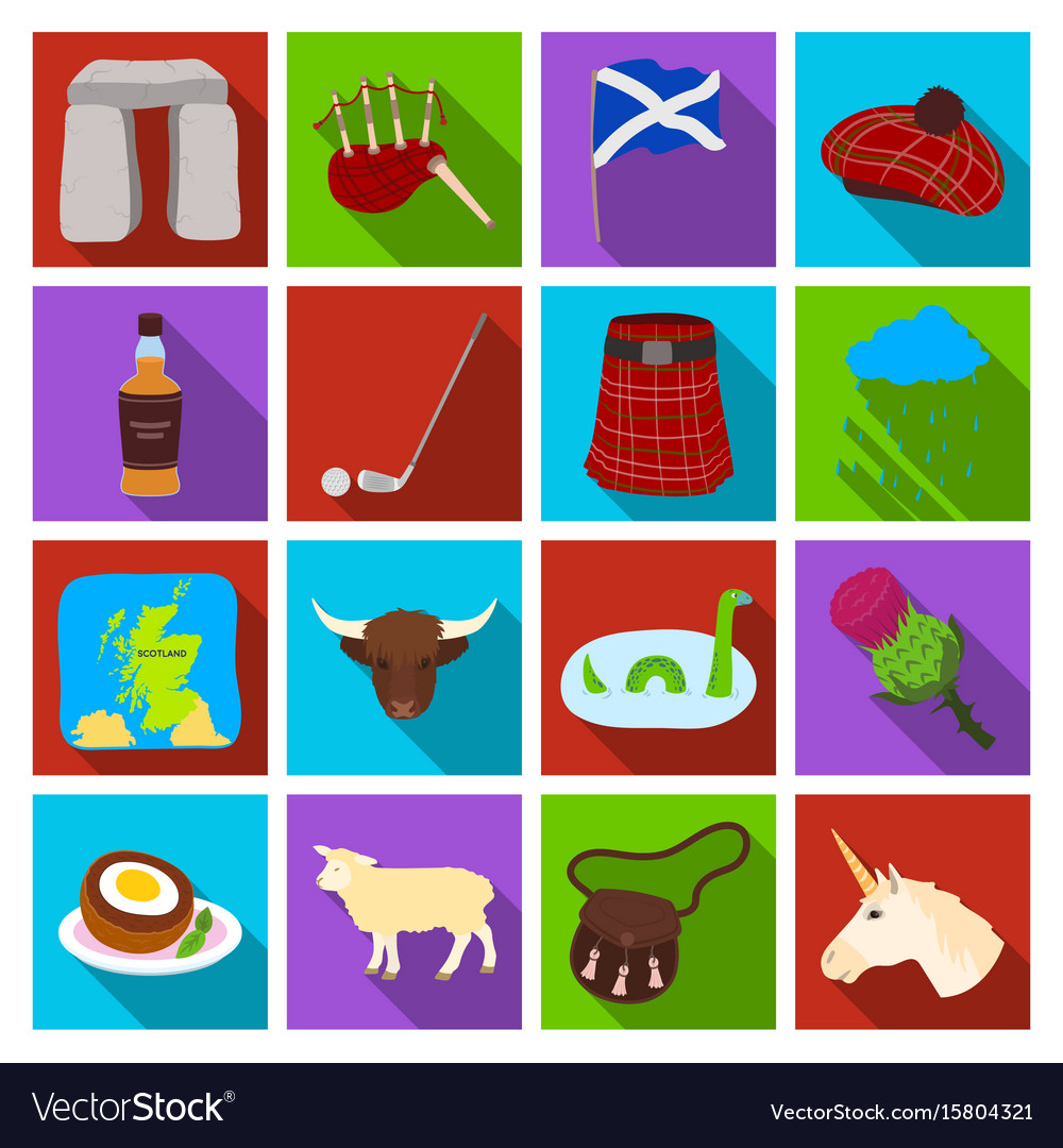 Scotland country set icons in flat style big