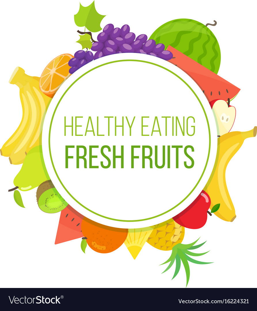 Set of fruits healthy eating