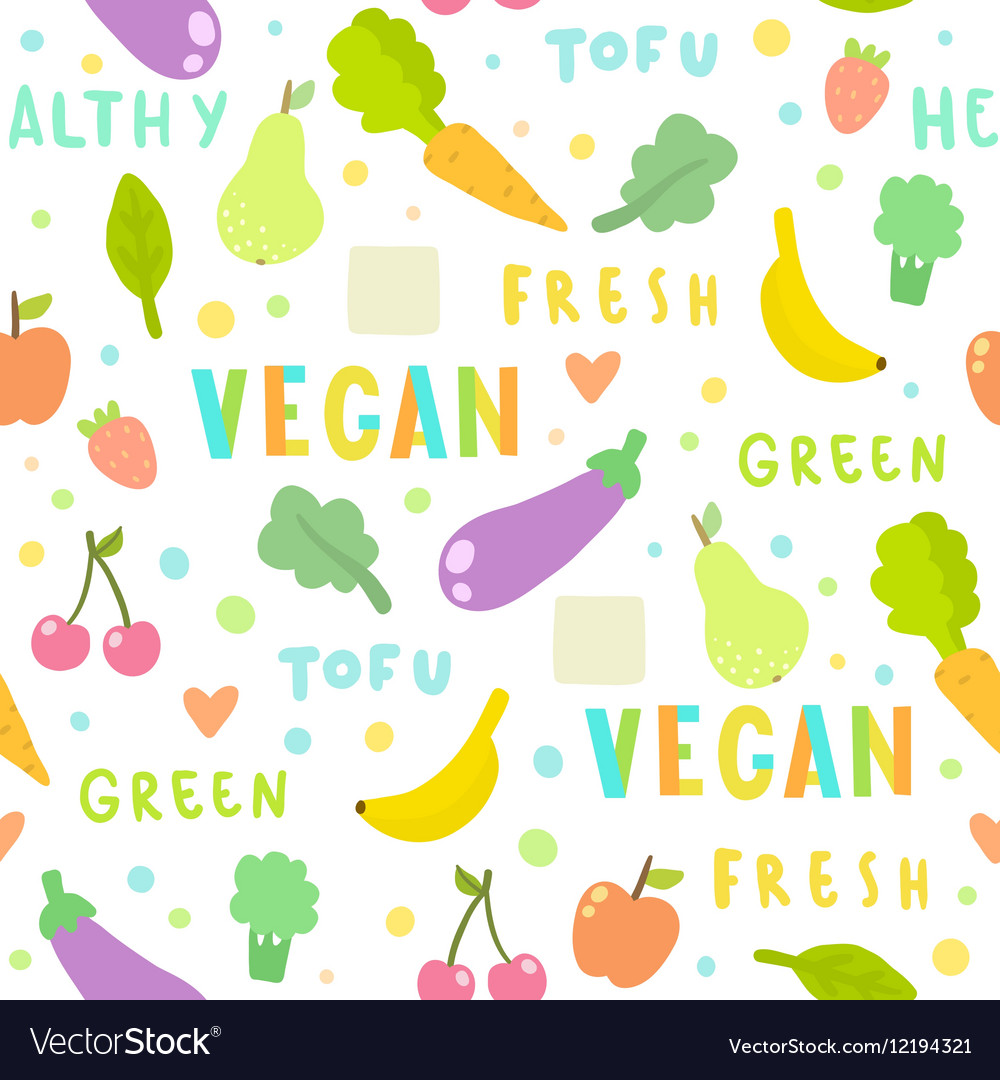 Vegan fruits and vegetables Seamless pattern vector image
