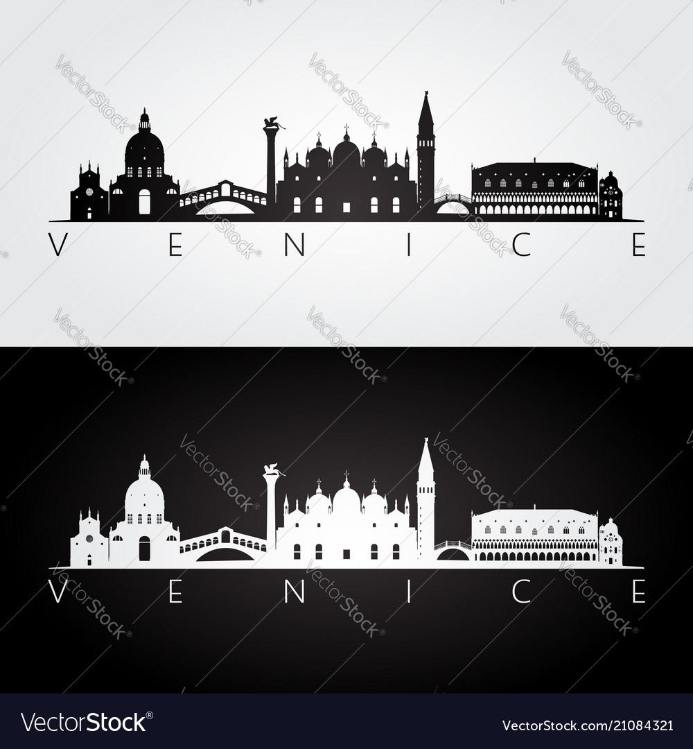 Venice skyline and landmarks silhouette