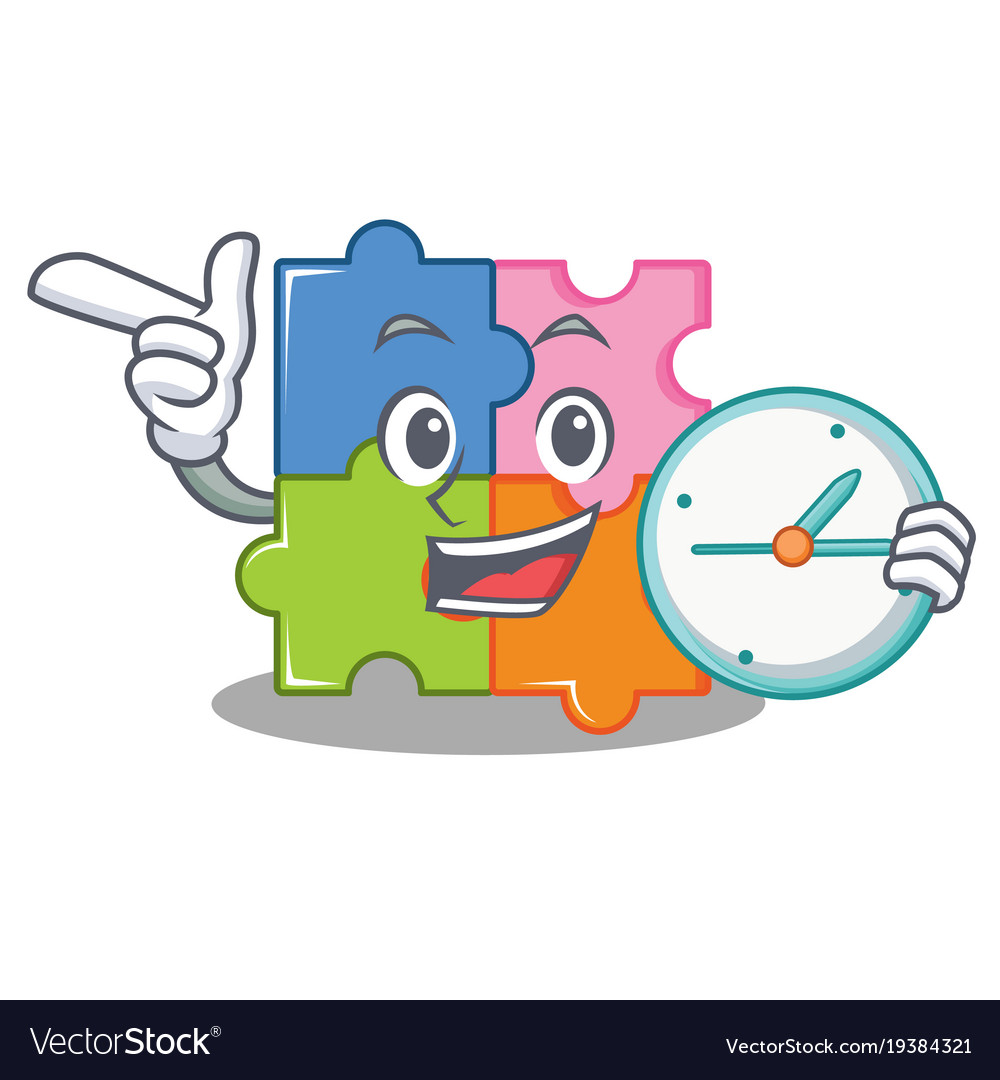 With Clock Puzzle Character Cartoon Style Vector Image