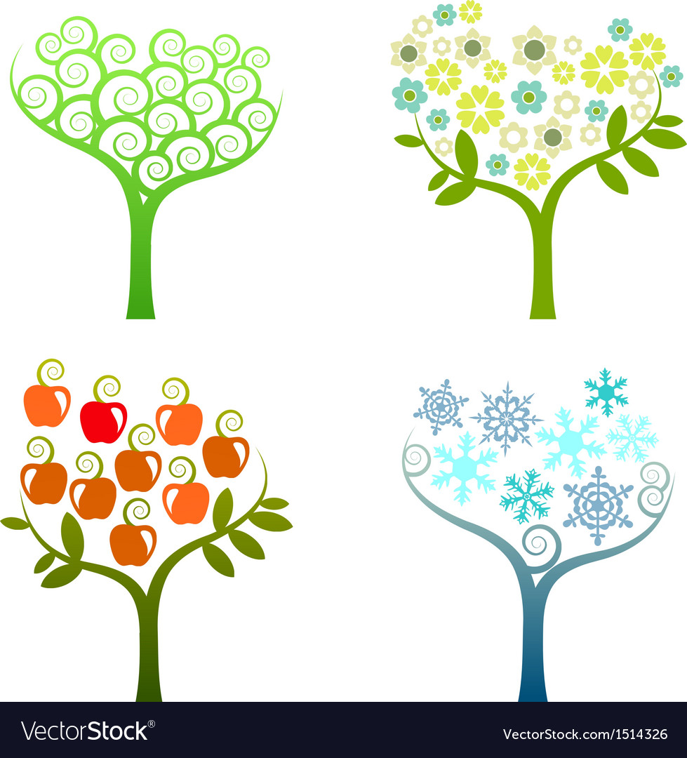 Abstract tree - graphic element - four seasons