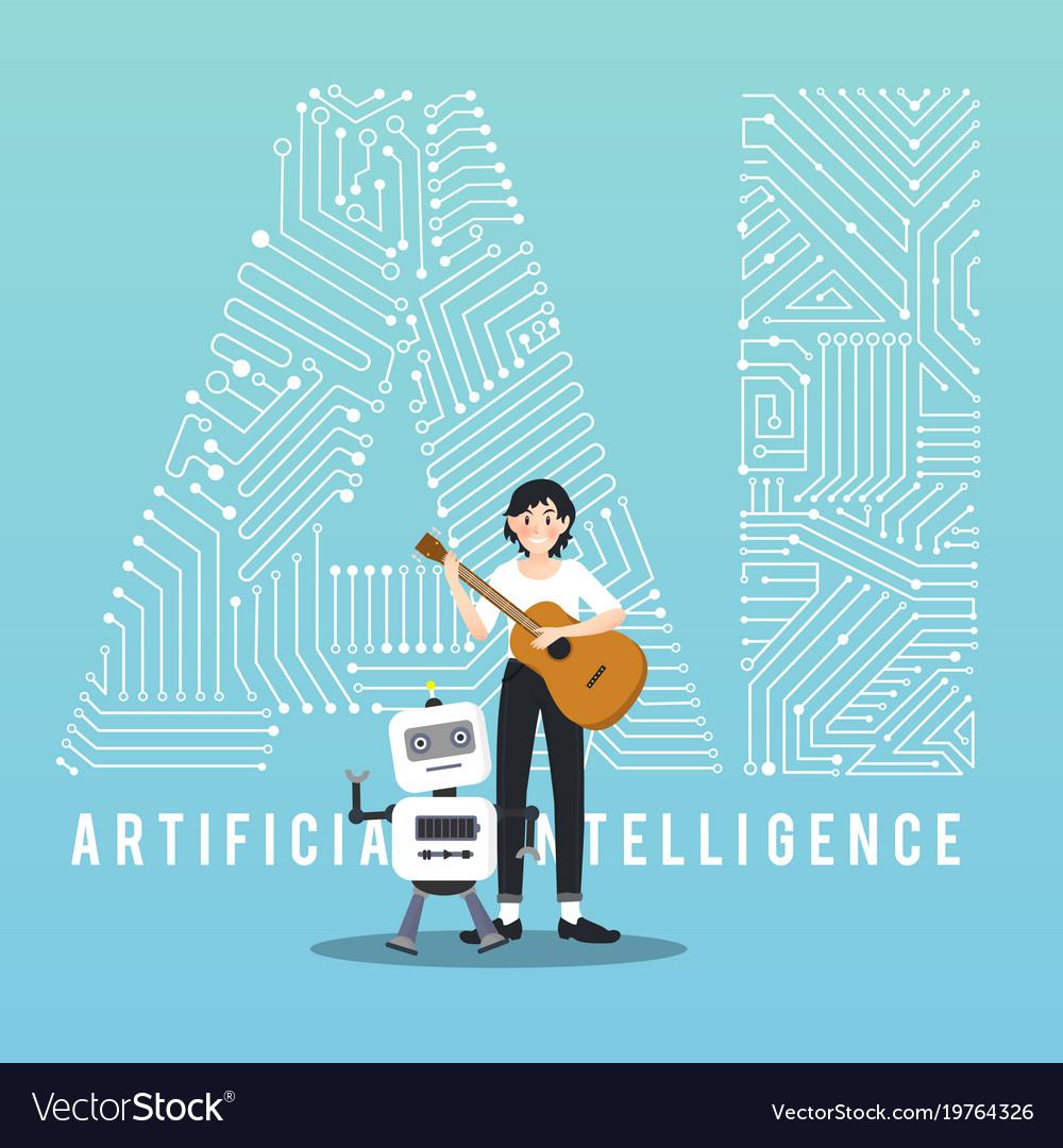 Ai robot and guitarist design vector image