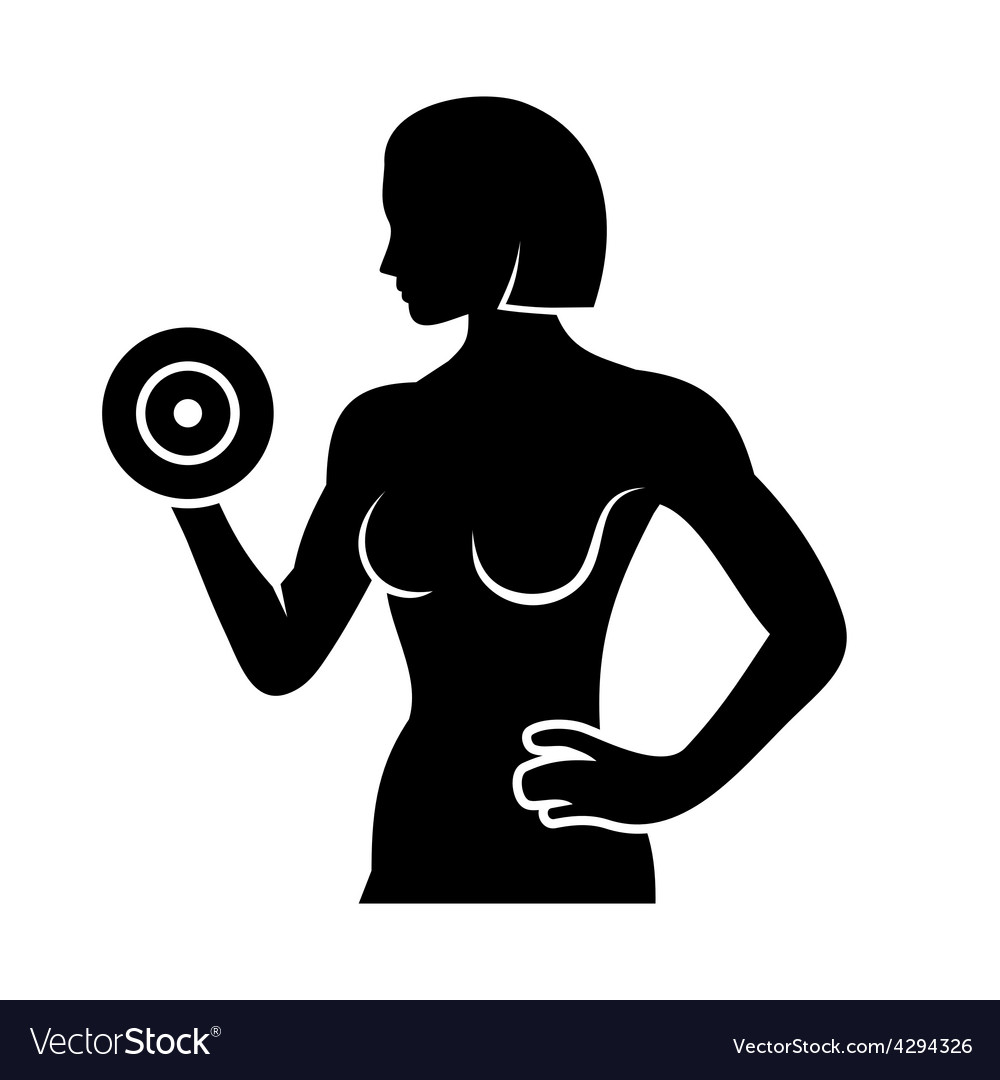 Athletic Woman Silhouette Pumping Up Muscles with