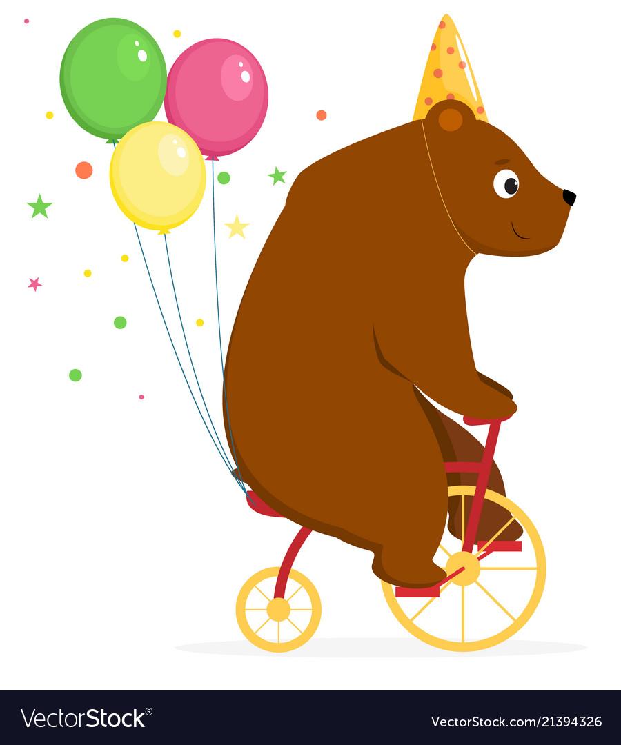 Bear performs a circus trick