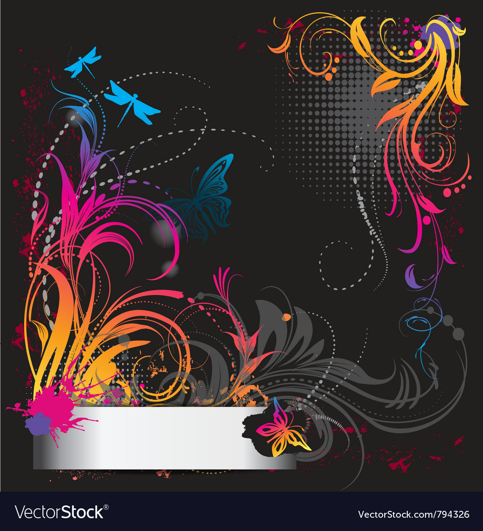 Border with flower ornament with butterfly vector image