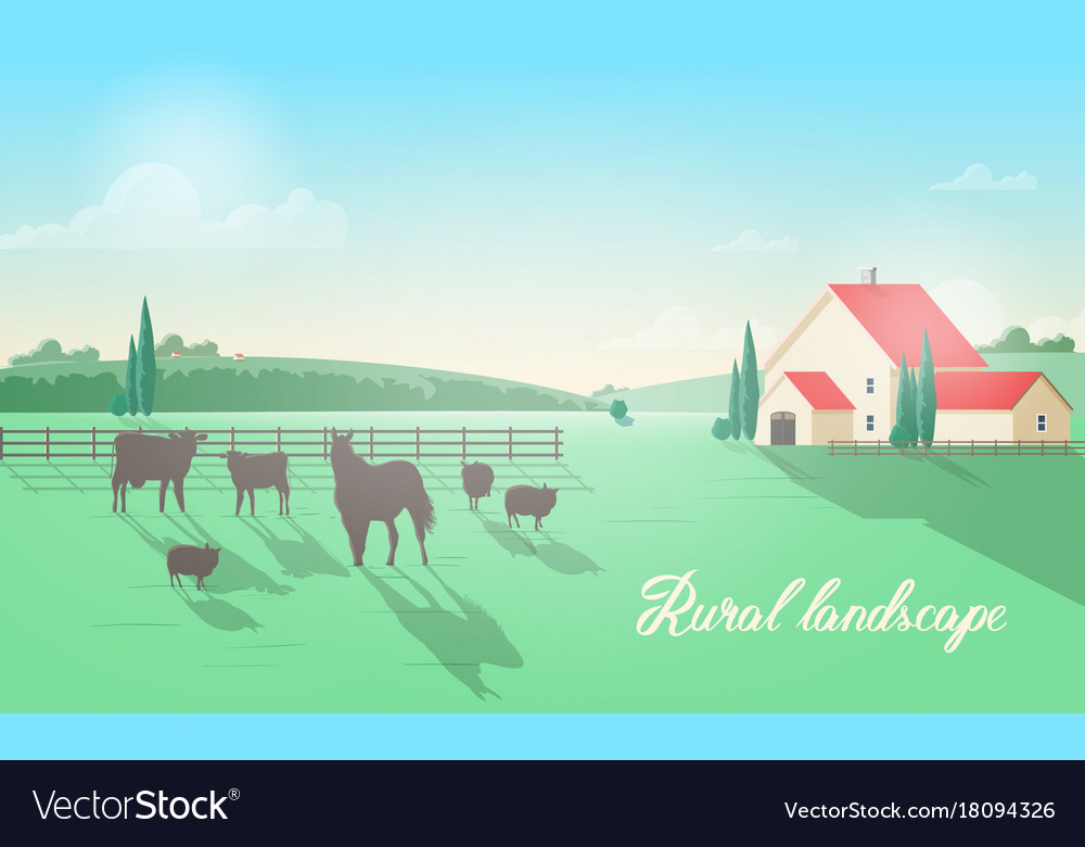 Gorgeous rural landscape with domestic animals