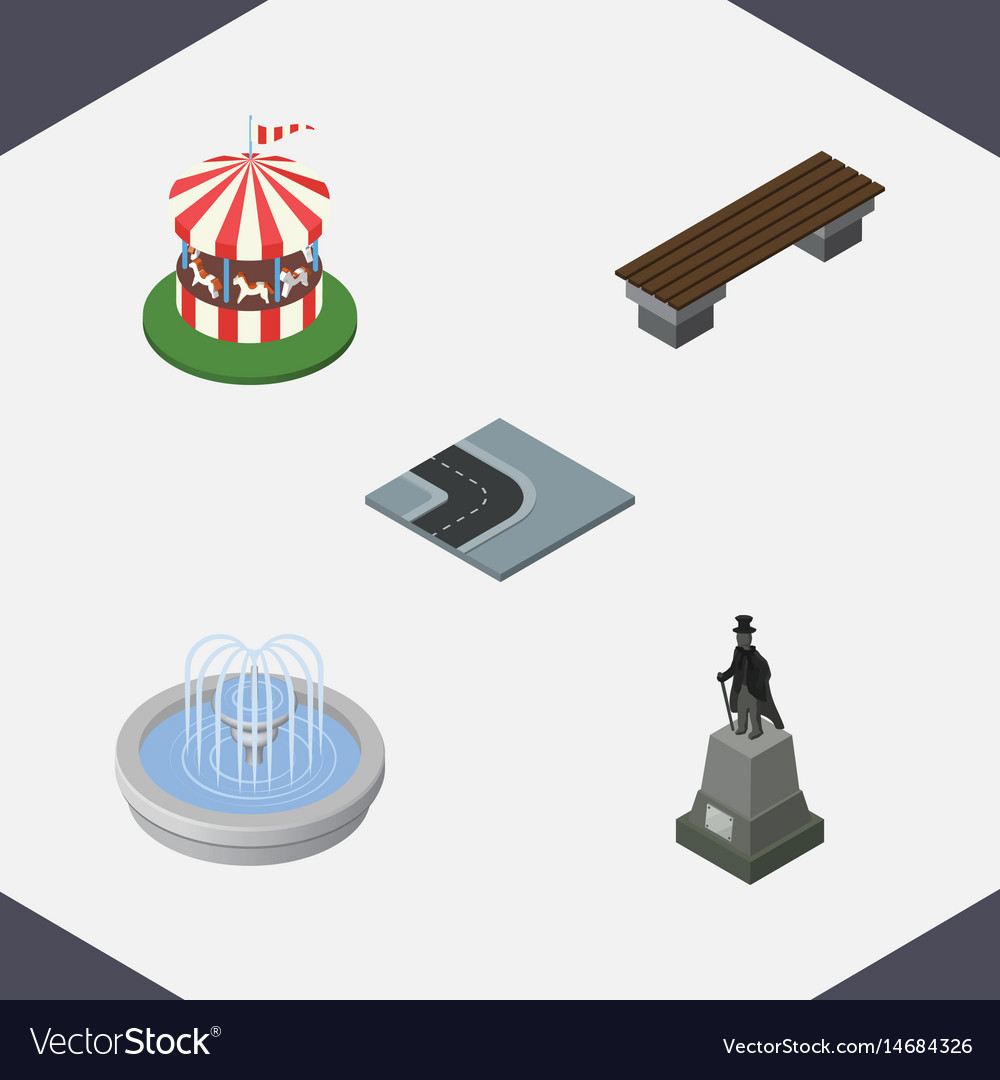 Isometric architecture set of bench carousel