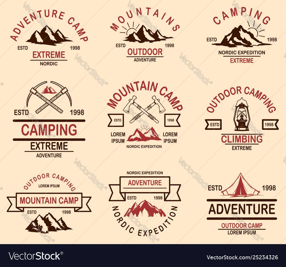 Set mountain hiking emblems design element for