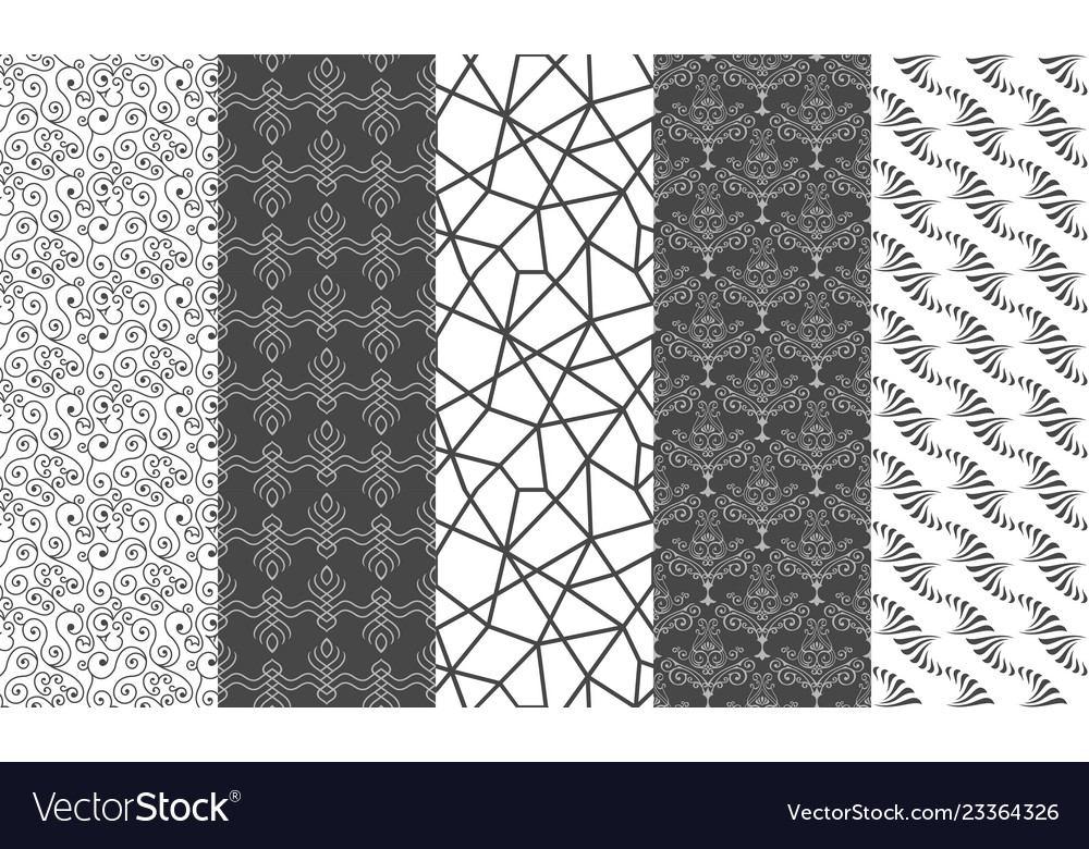 Set of black and white mosaic textures