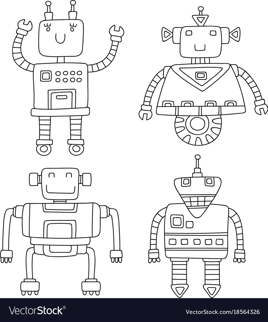 Set of different cute robots