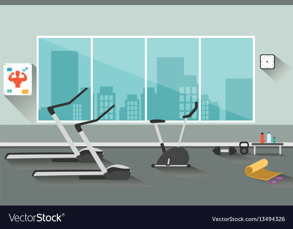 Sport gym interior workout equipment vector image