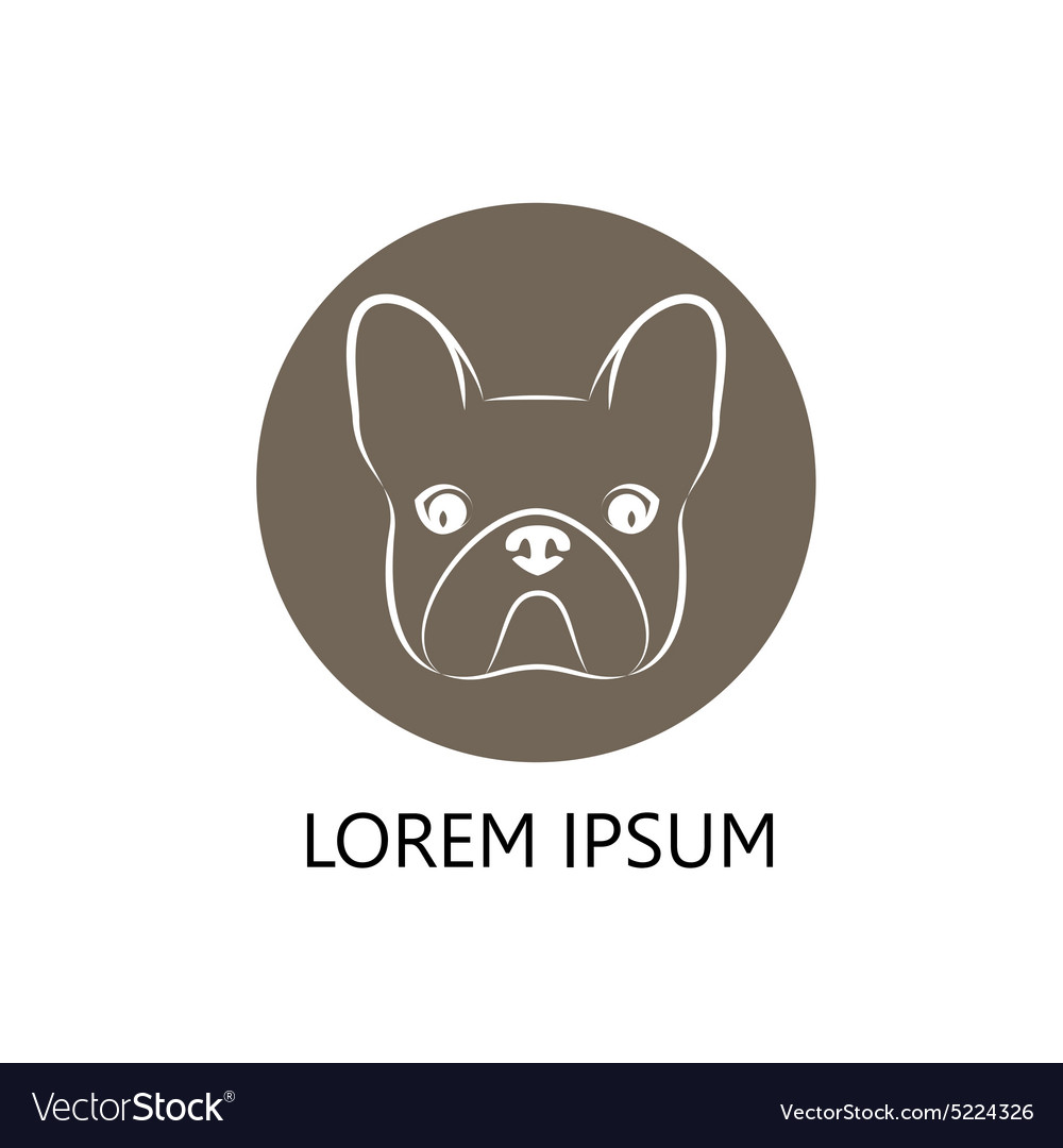 Stylized head of a dog on brown background vector image