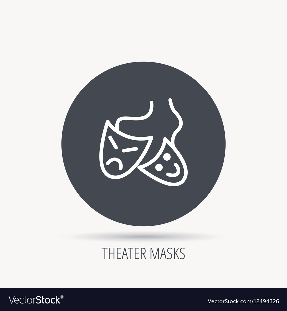 Theater masks icon Drama and comedy sign