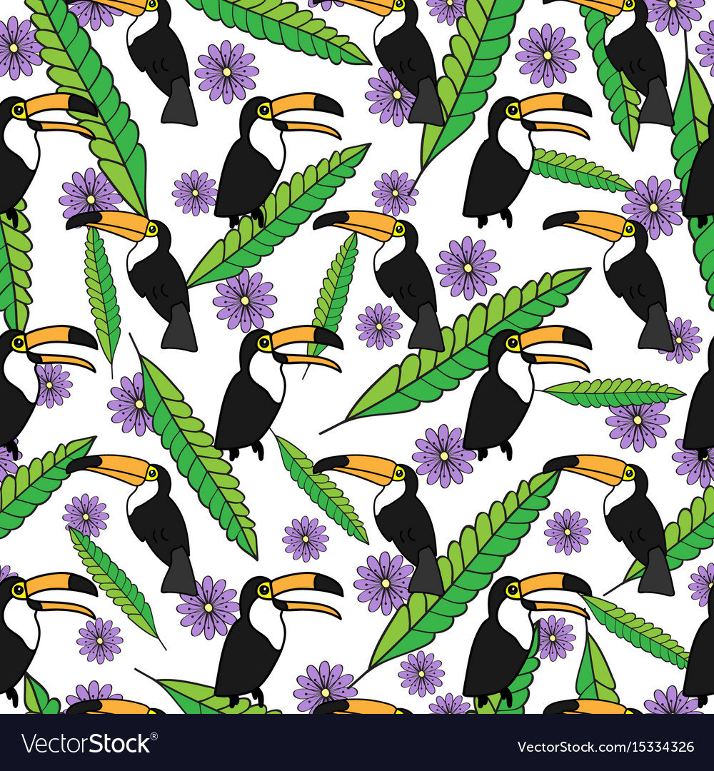 Tropical seamless pattern with toucans green