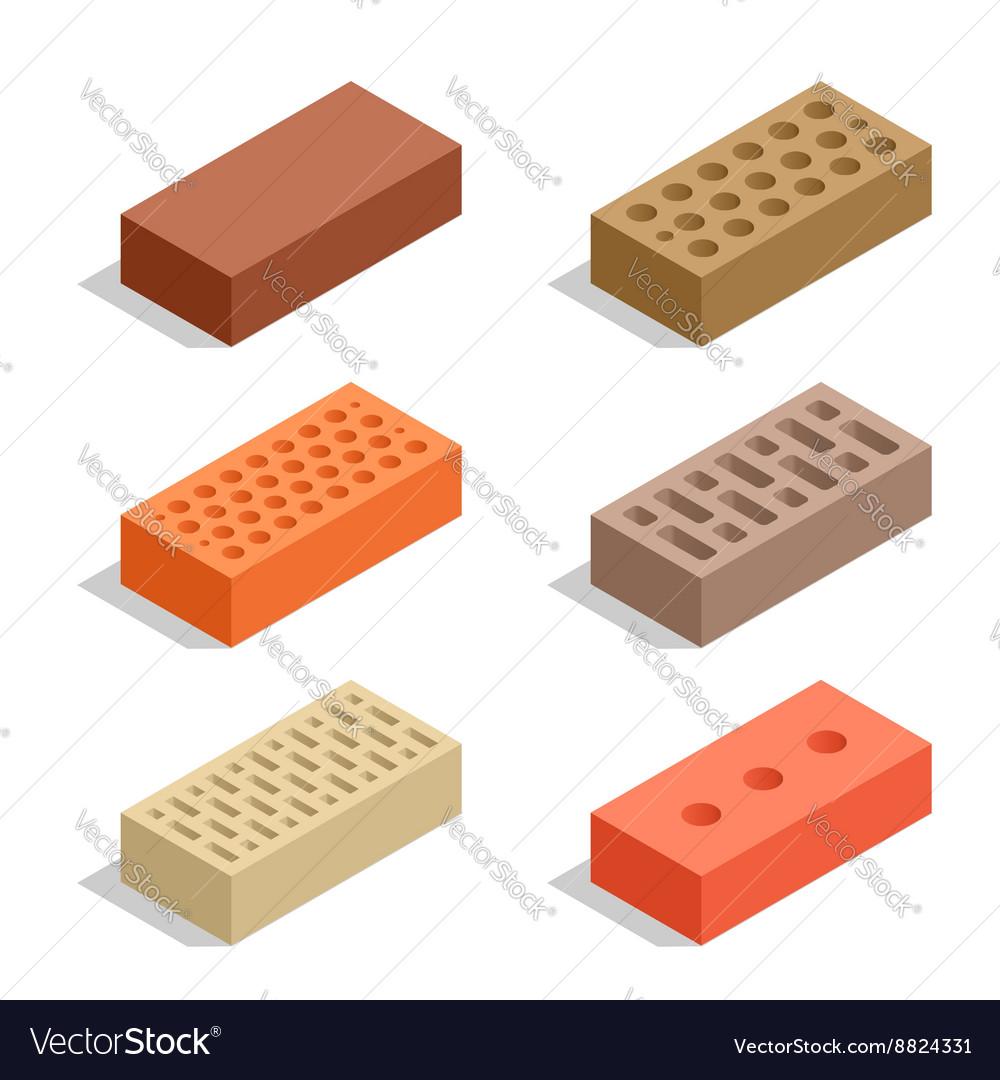 Bricks isolated on white Brick icon set Flat 3d