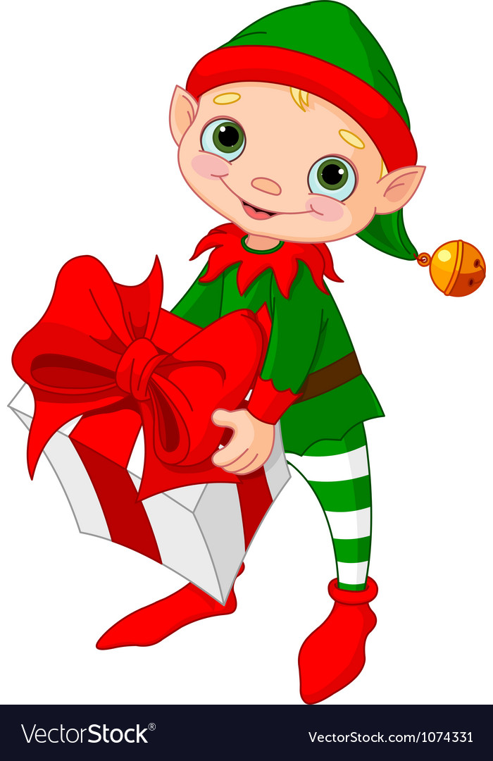 Christmas Elf with gift