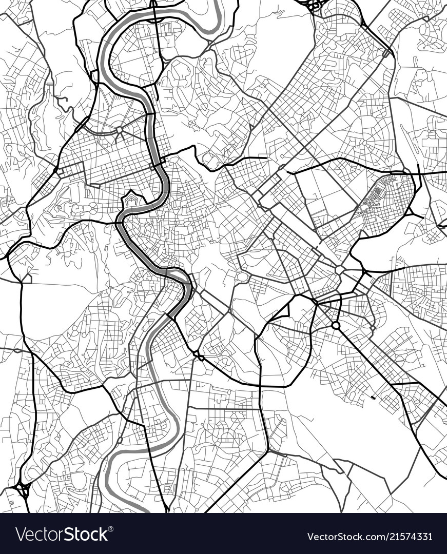 City map of rome in black and white Royalty Free Vector Download Map Of Rome on