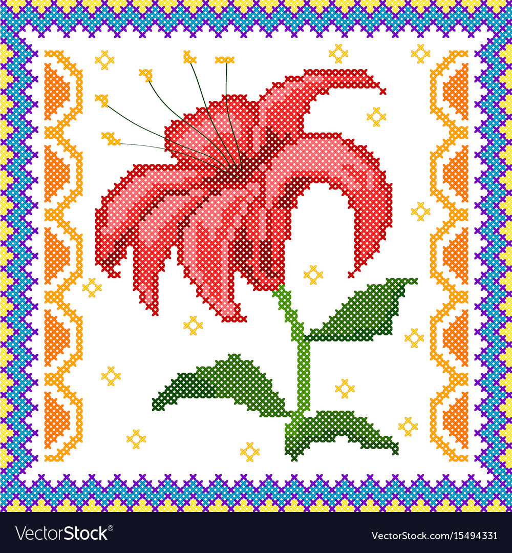Cross stitch embroidery floral design for seamless