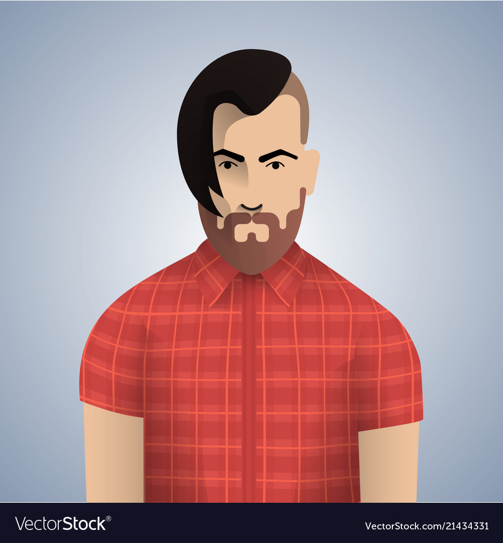 Flat hipster man character