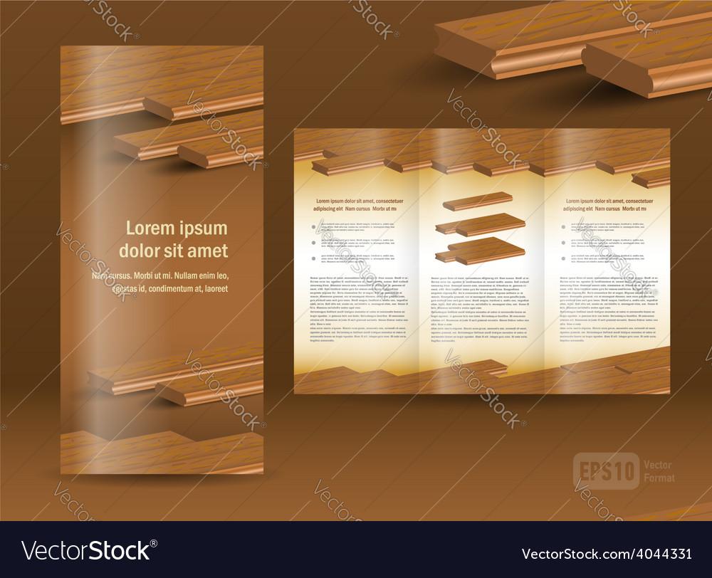 Flooring plank brochure design template folder