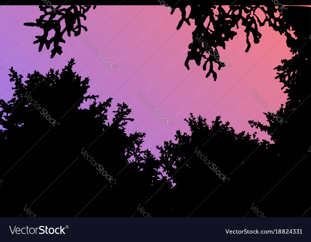 Forest landscape silhouette realistic