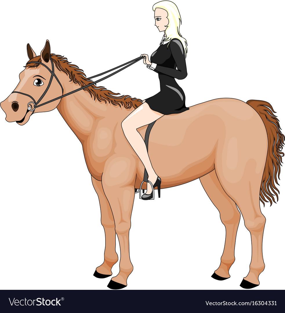 Girl riding horse vector image