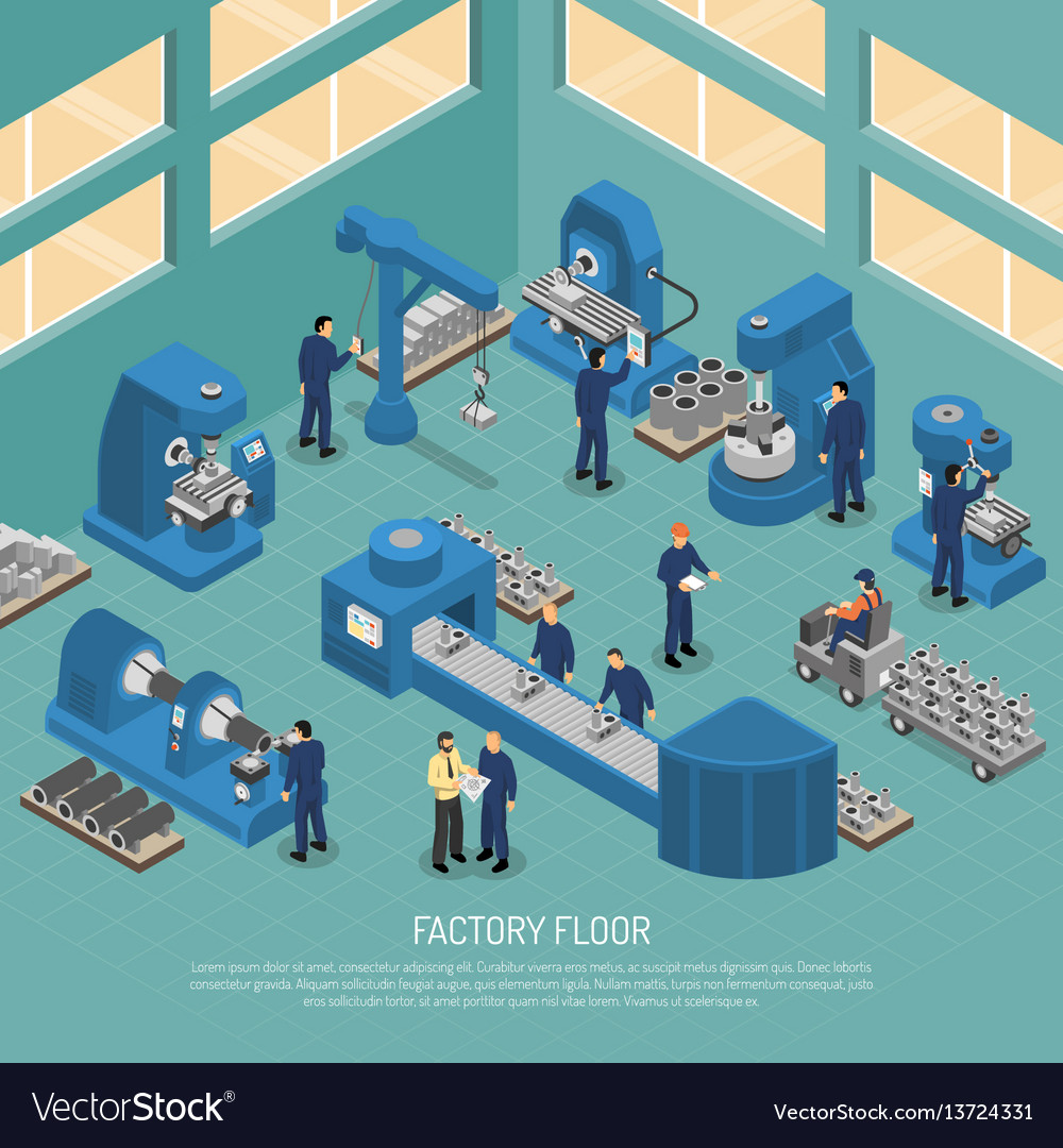 Heavy industry production facility isometric vector image