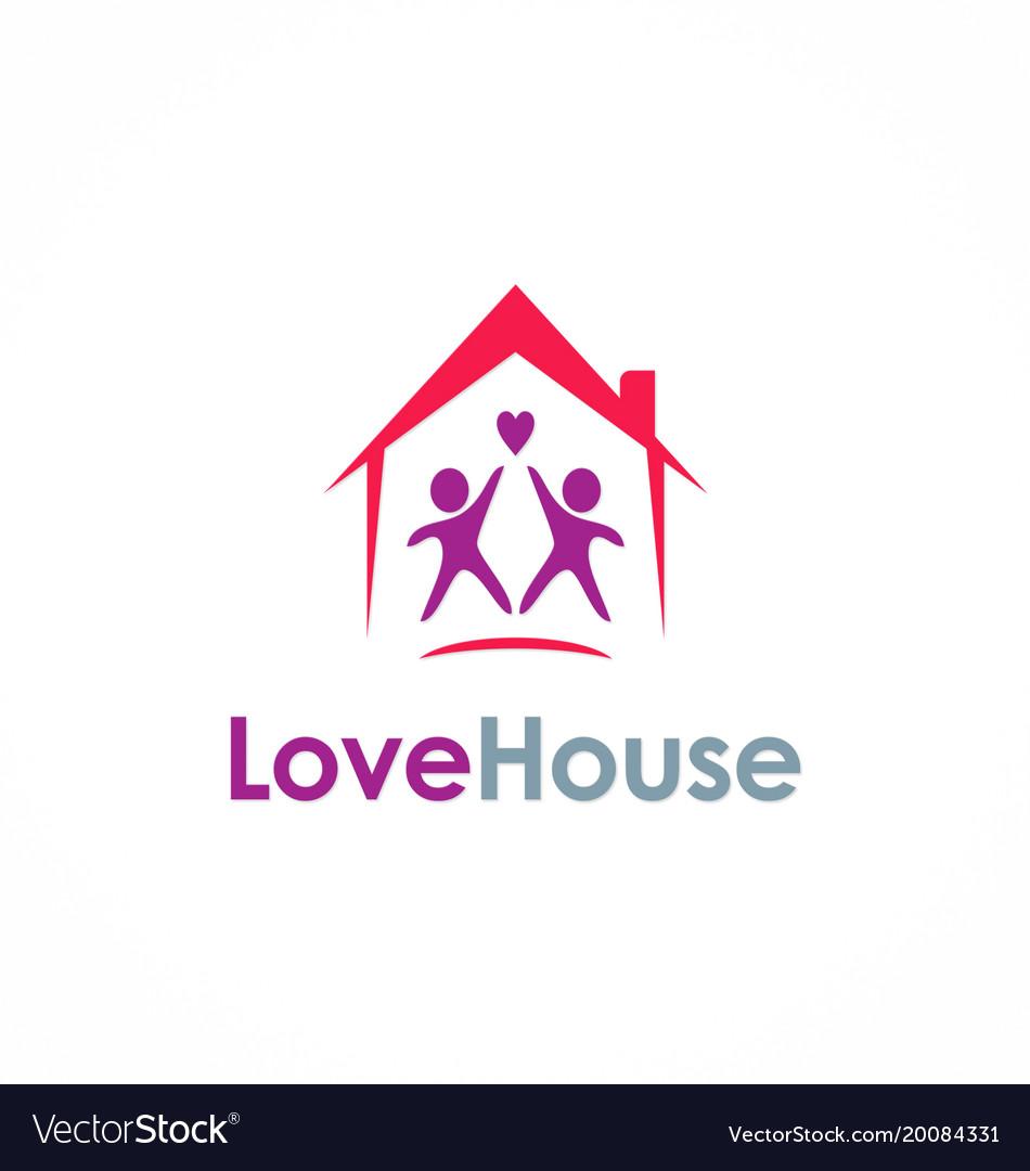Love house couple logo vector image