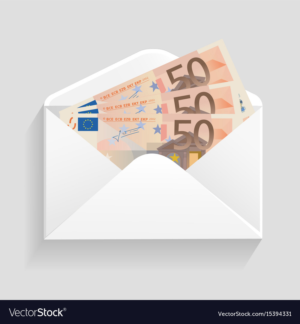 Open envelope and 50 euro bills cash
