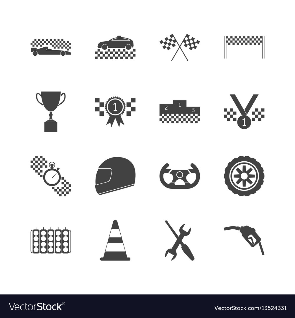 Racing sport black icons set vector image