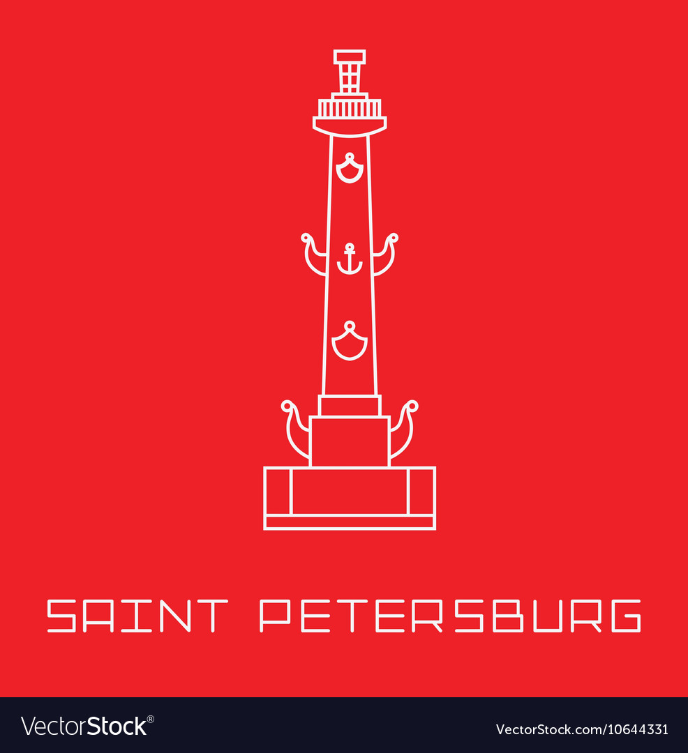 Saint-Petersburg Rostral column line art