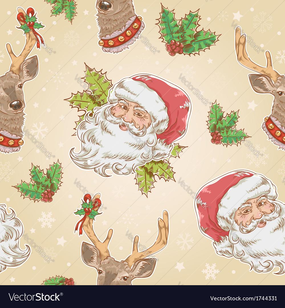 Santa claus and deer characters seamless pattern