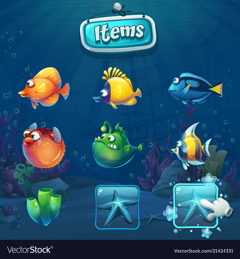 Set of cartoon items in underwater world
