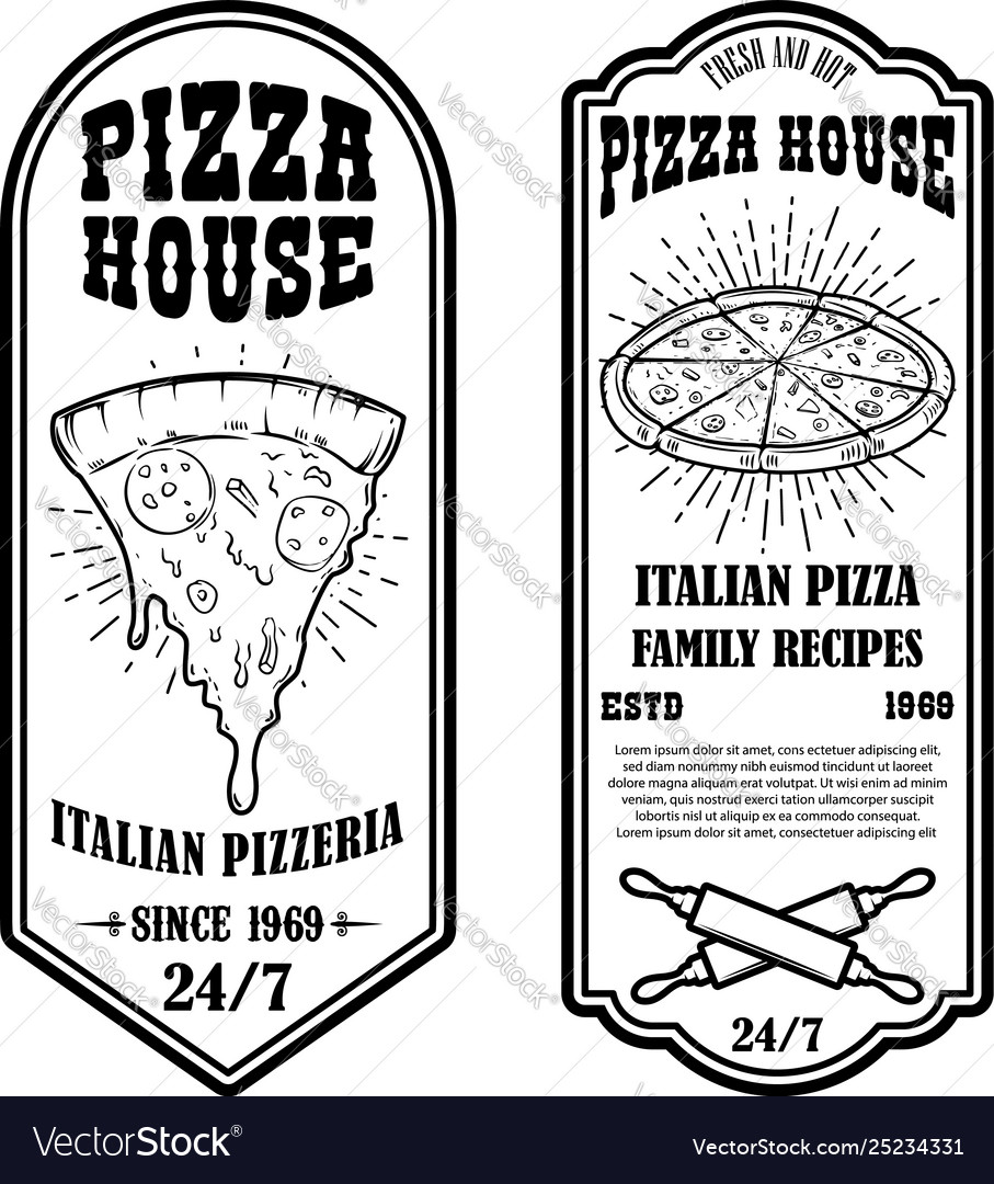 Set pizza house flyers design elements