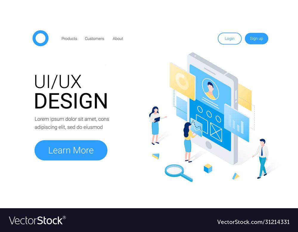 Ui ux design isometric concept