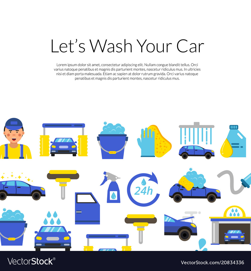 Background With Car Wash Flat Icons Royalty Free Vector