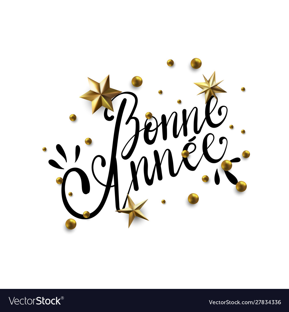 Bonne Annee Happy New Year In French Greeting Vector Image