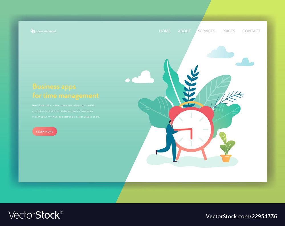 Business project time management landing page