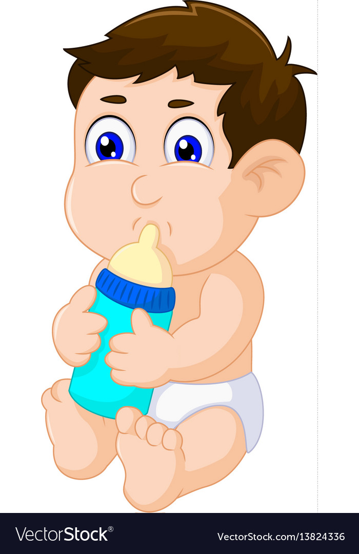 Cute baby boy cartoon sitting with pacifier