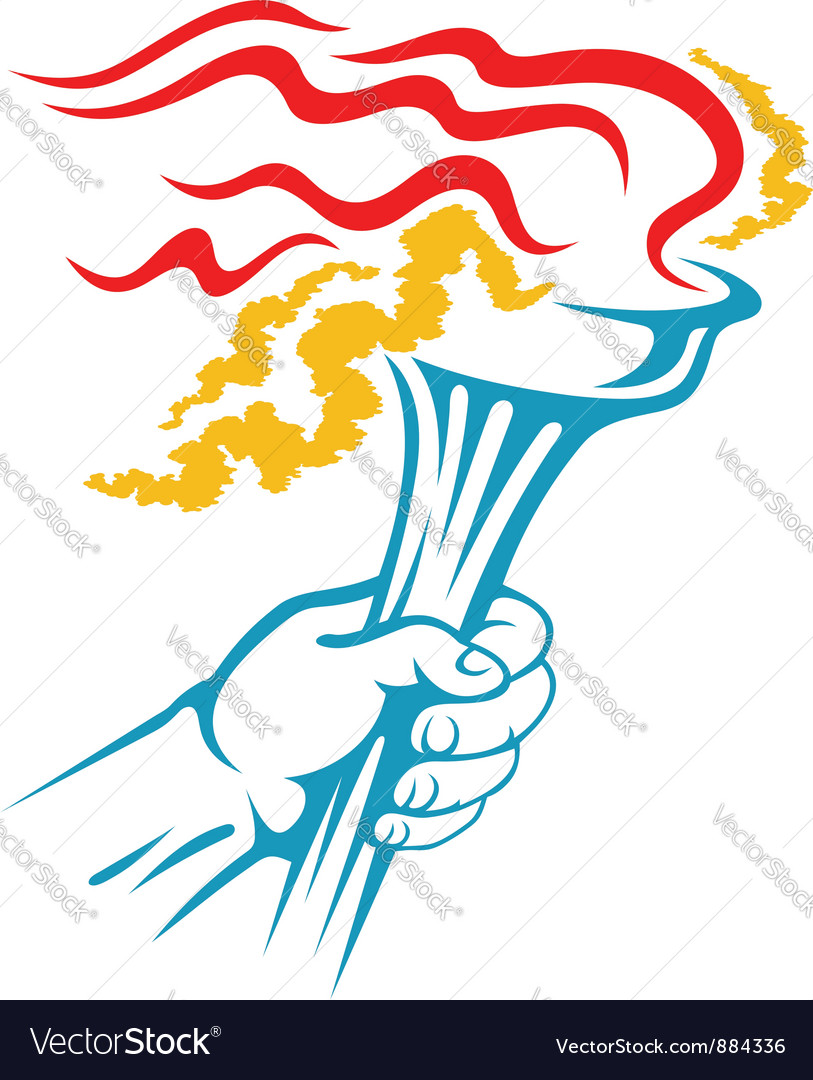 Flaming torch in hand for sports Royalty Free Vector Image for Sports Torch With Hand  56mzq