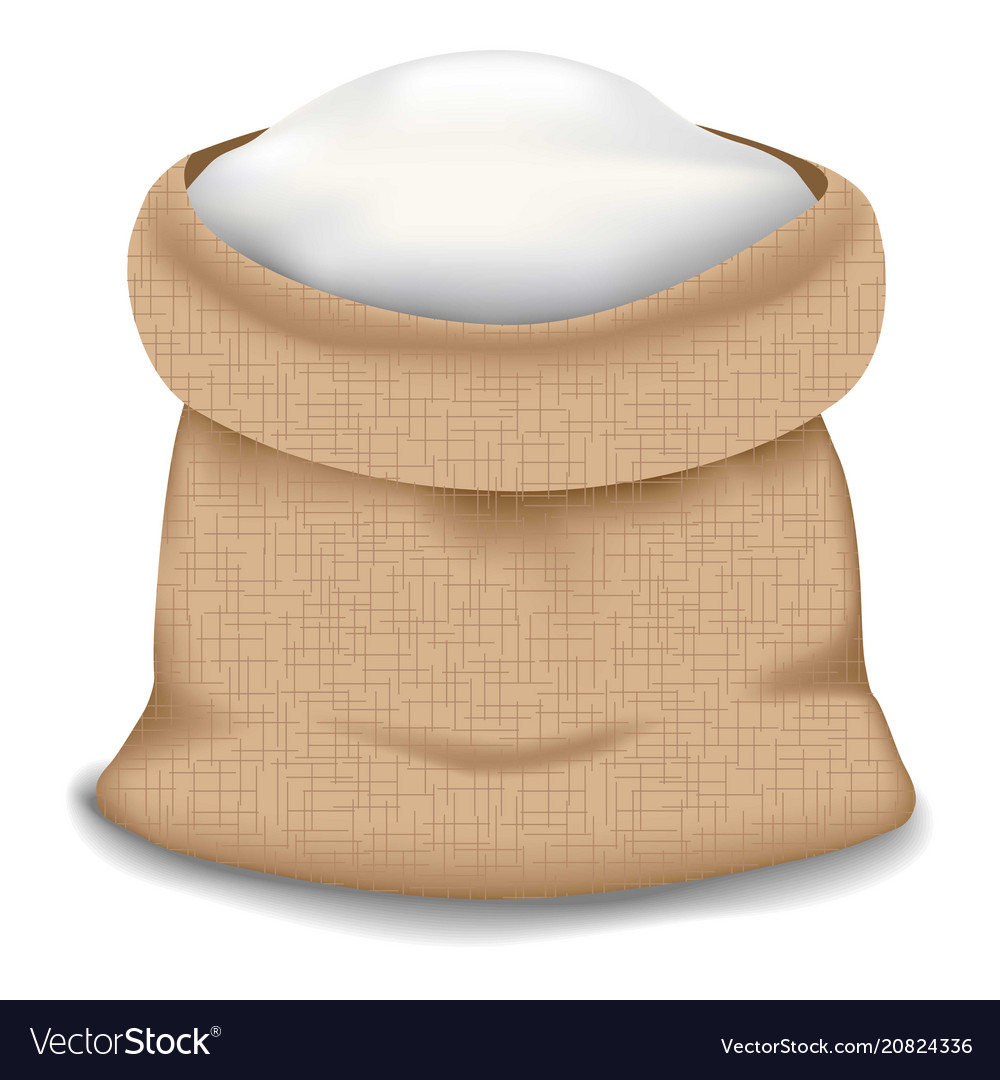 Flour Bag Icon Realistic Style Vector Image