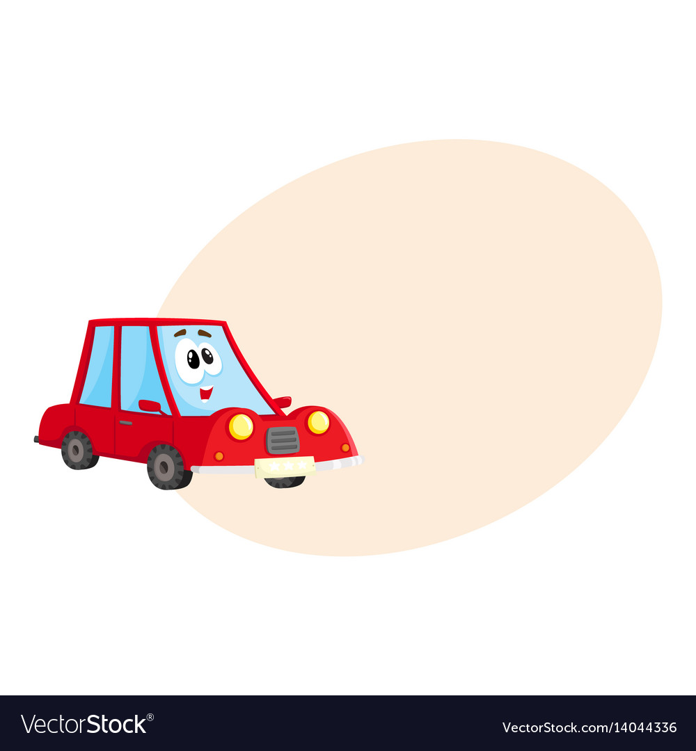 Funny red car character with human face surprised
