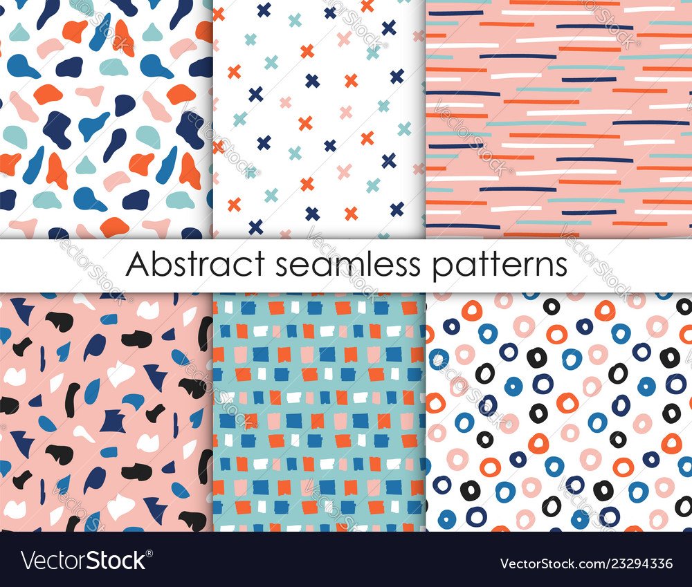 Hand drawn textures collection seamless pattern