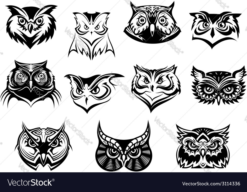 Large set of black and white owl heads vector image