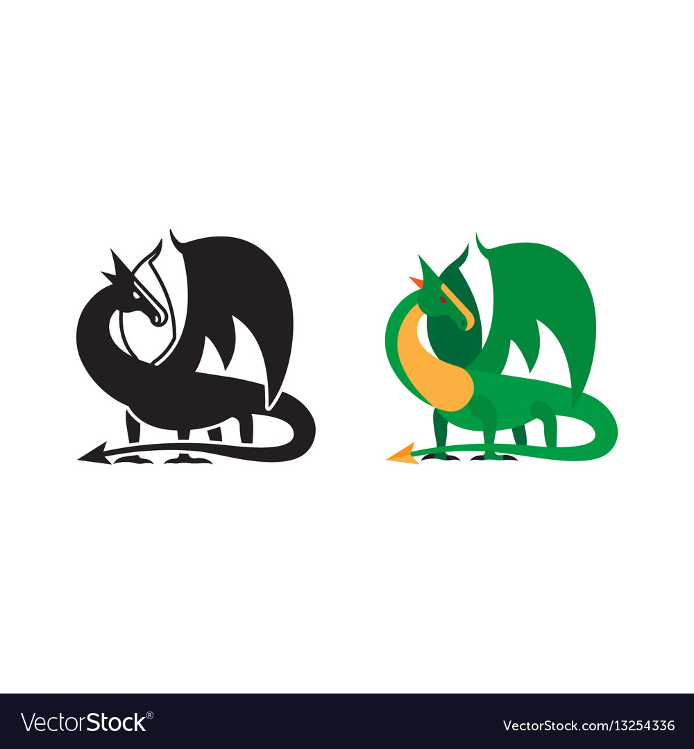 Medieval dragon icon and silhouette