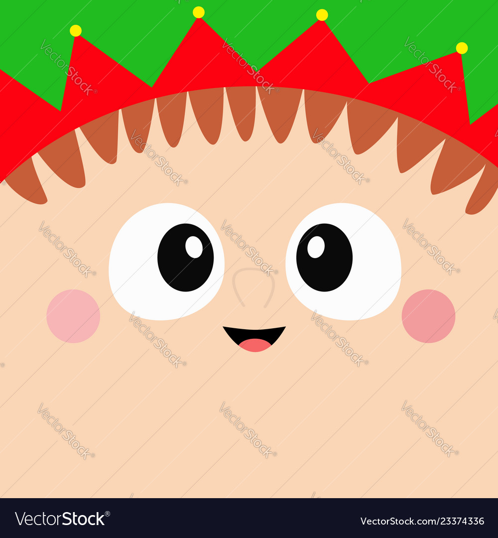 Santa claus elf square head face icon merry