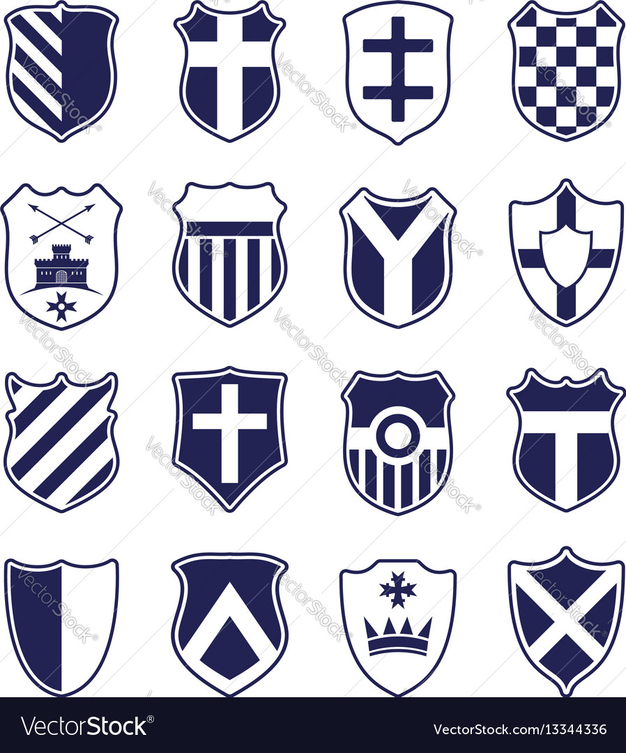 Set of shields isolated on white vector image
