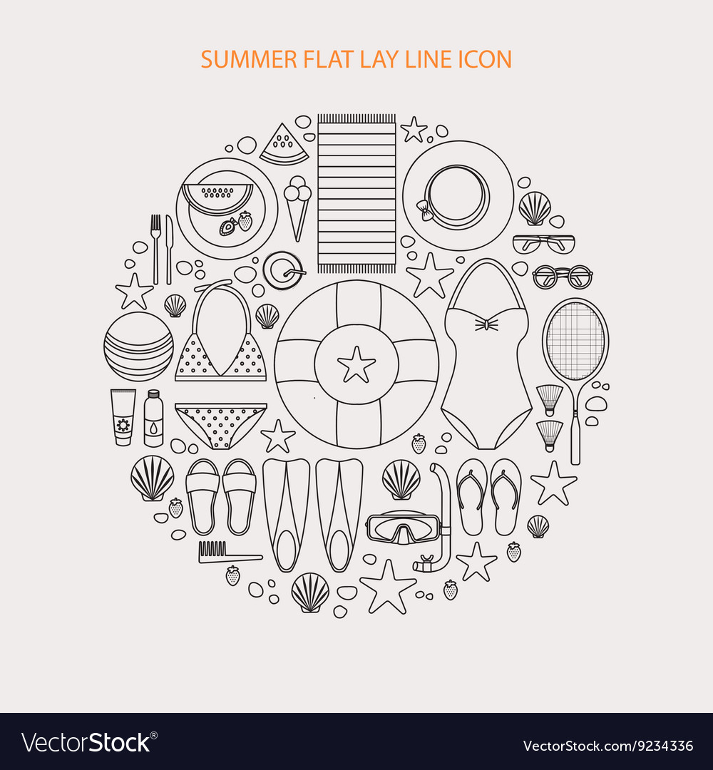 Summertime flat lay line infographics