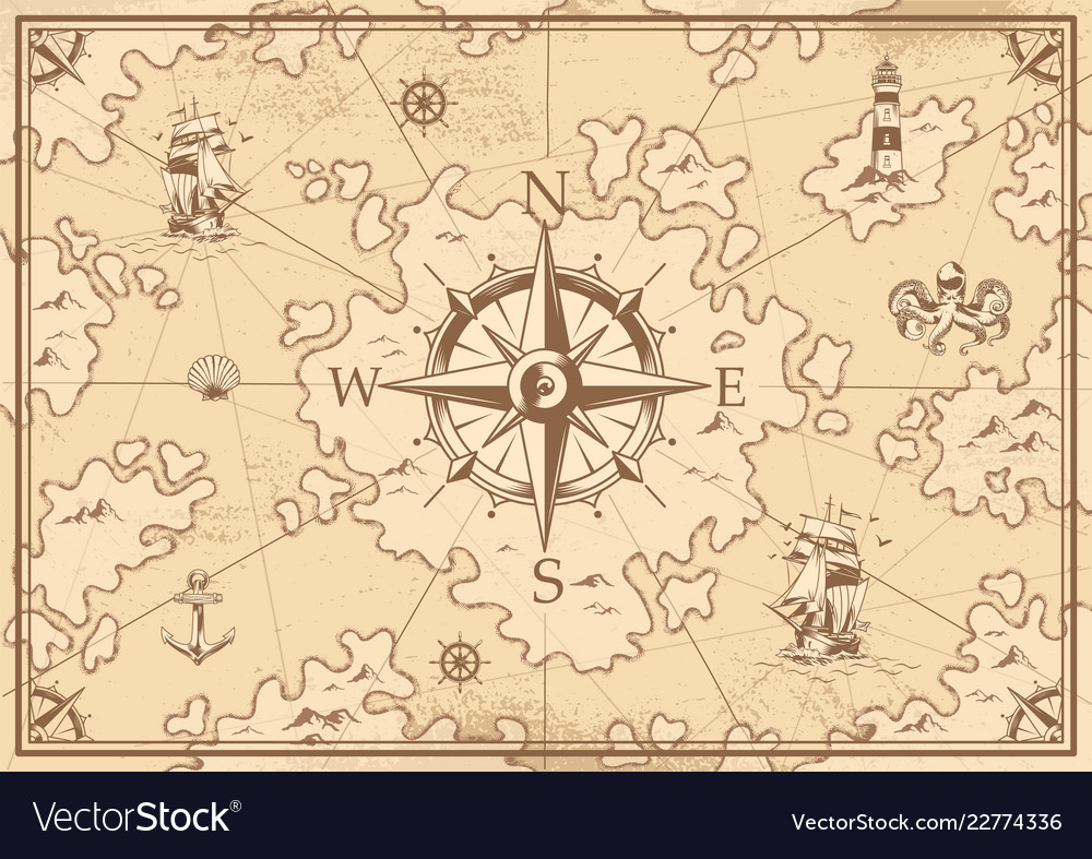 Vintage monochrome treasure map concept on a map of life, a map of love, a map of home, a map of cascade, a map of roosevelt, a map of jupiter, a map of sahara, a map of time, a map of ocean, a map of odyssey,